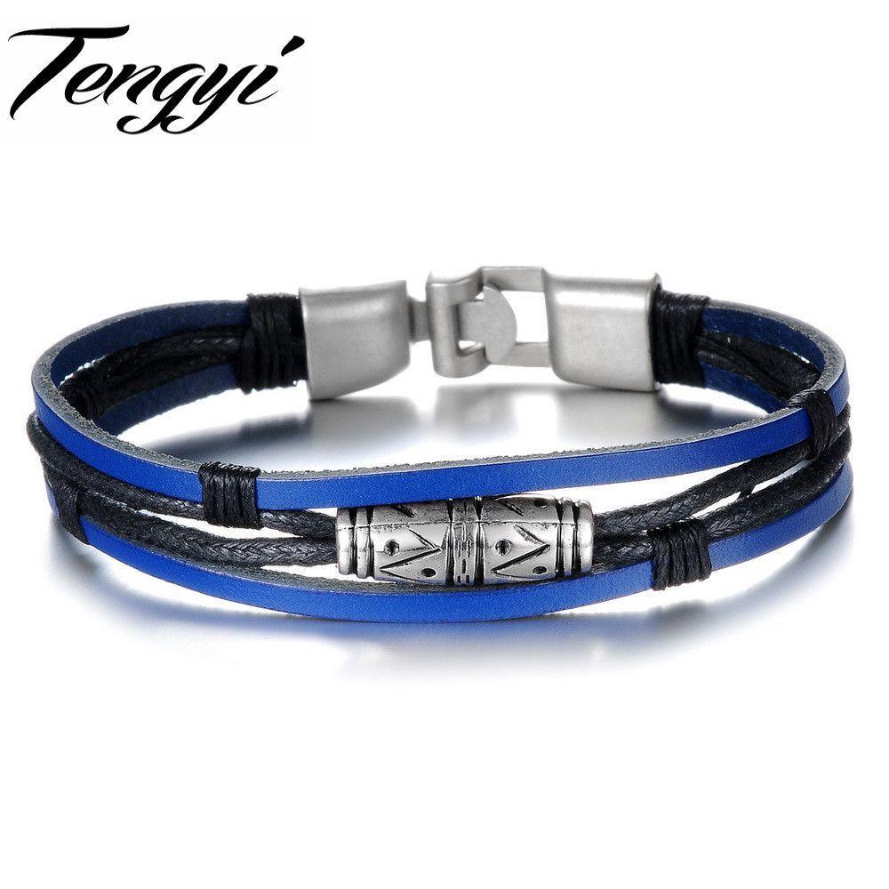 Punk cool men blue leather charm bracelet male retro layers