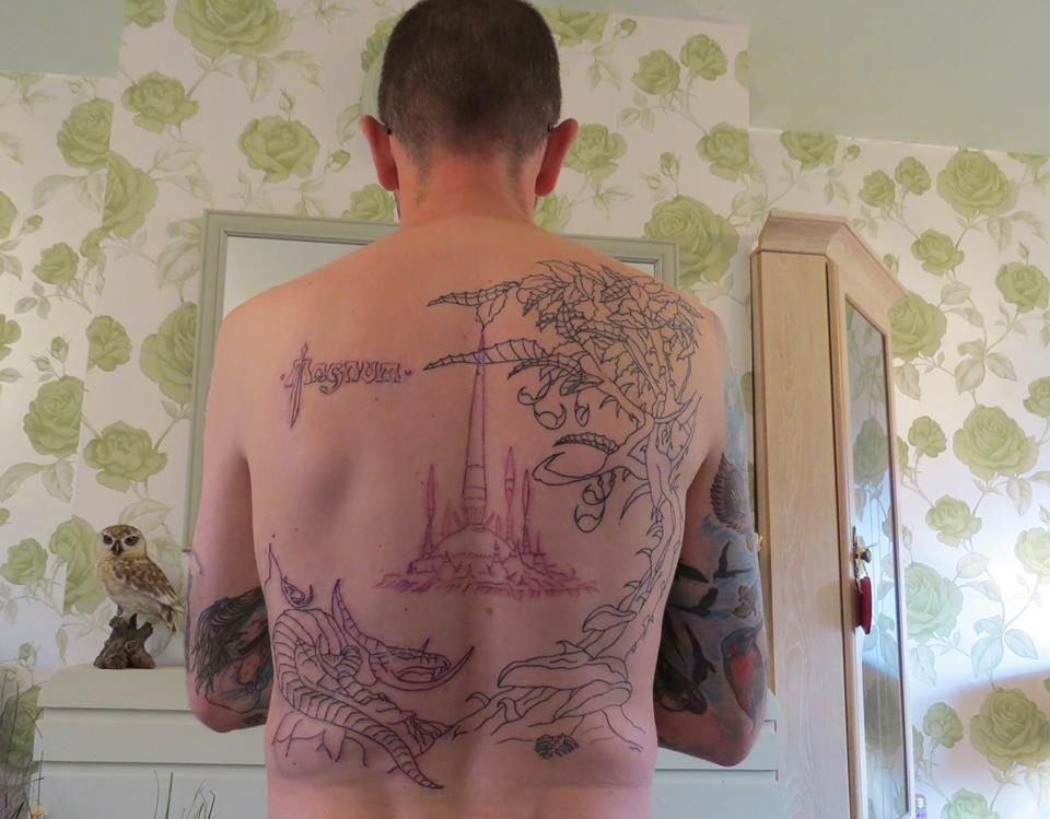 Outline of Magnum - Chase The Dragon album cover done on my back, next comes the shading. #tattoo #inked #tattooed