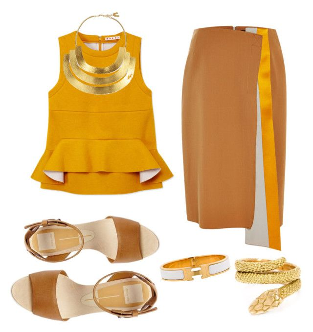 Goldmember by charlottebrolin on Polyvore featuring polyvore, fashion, style, Marni, Jonathan Saunders, Cartier, Hervé Van Der Straeten and Hermès