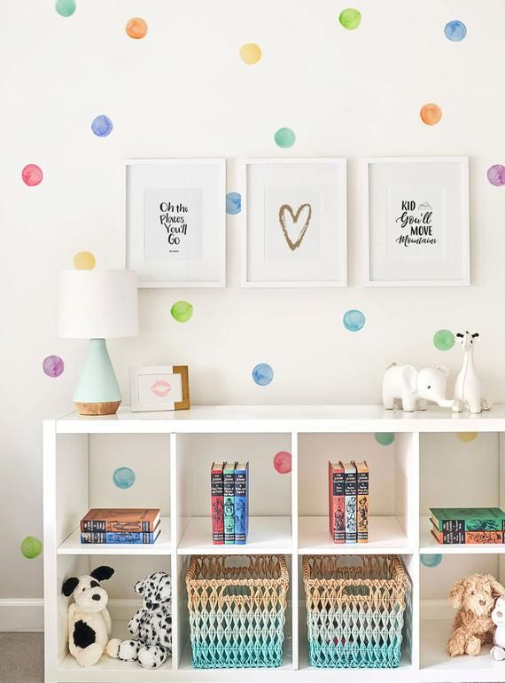 Watercolor Dots Wall Stickers, Rainbow, Irregular-Shaped Dots, Polka Dots, Dot Wall Stickers - Peel and Stick Wall Stickers Kids Room Decor