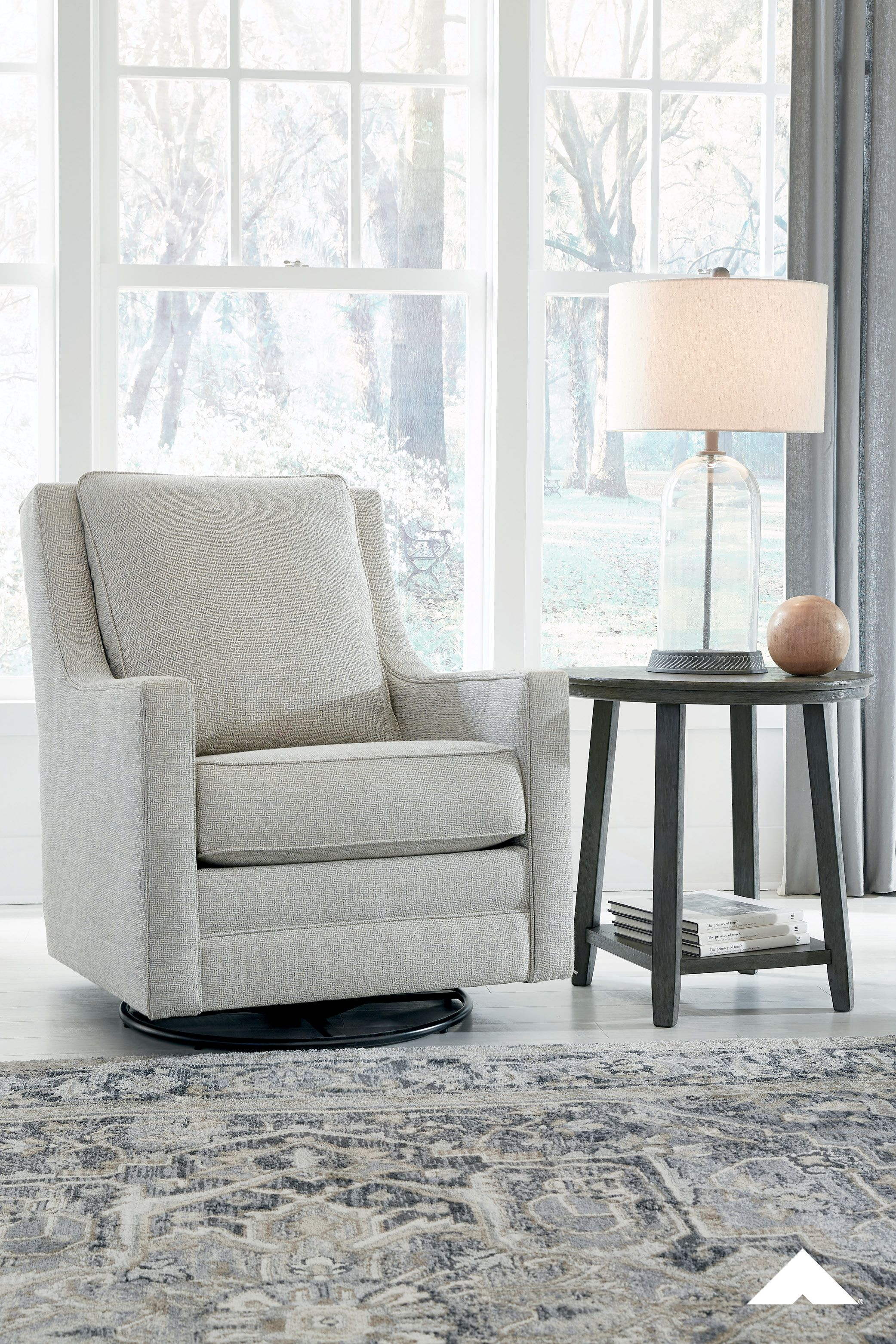 Kambria Frost Swivel Glider Accent Chair By Ashley Furniture Crisp And Cool But Not Without Its In 2020 Ashley Furniture Furniture Design Ashley Furniture Industries