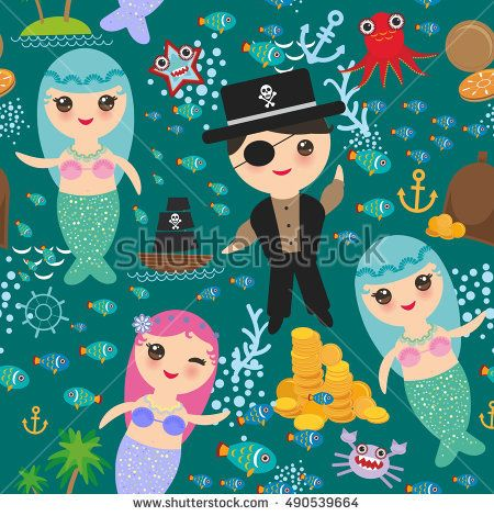 seamless pattern Mermaid with pirate, boat with sail, gold coins crab octopus starfish island with palm trees anchor compass anchor helm treasures on dark blue sea background. Vector