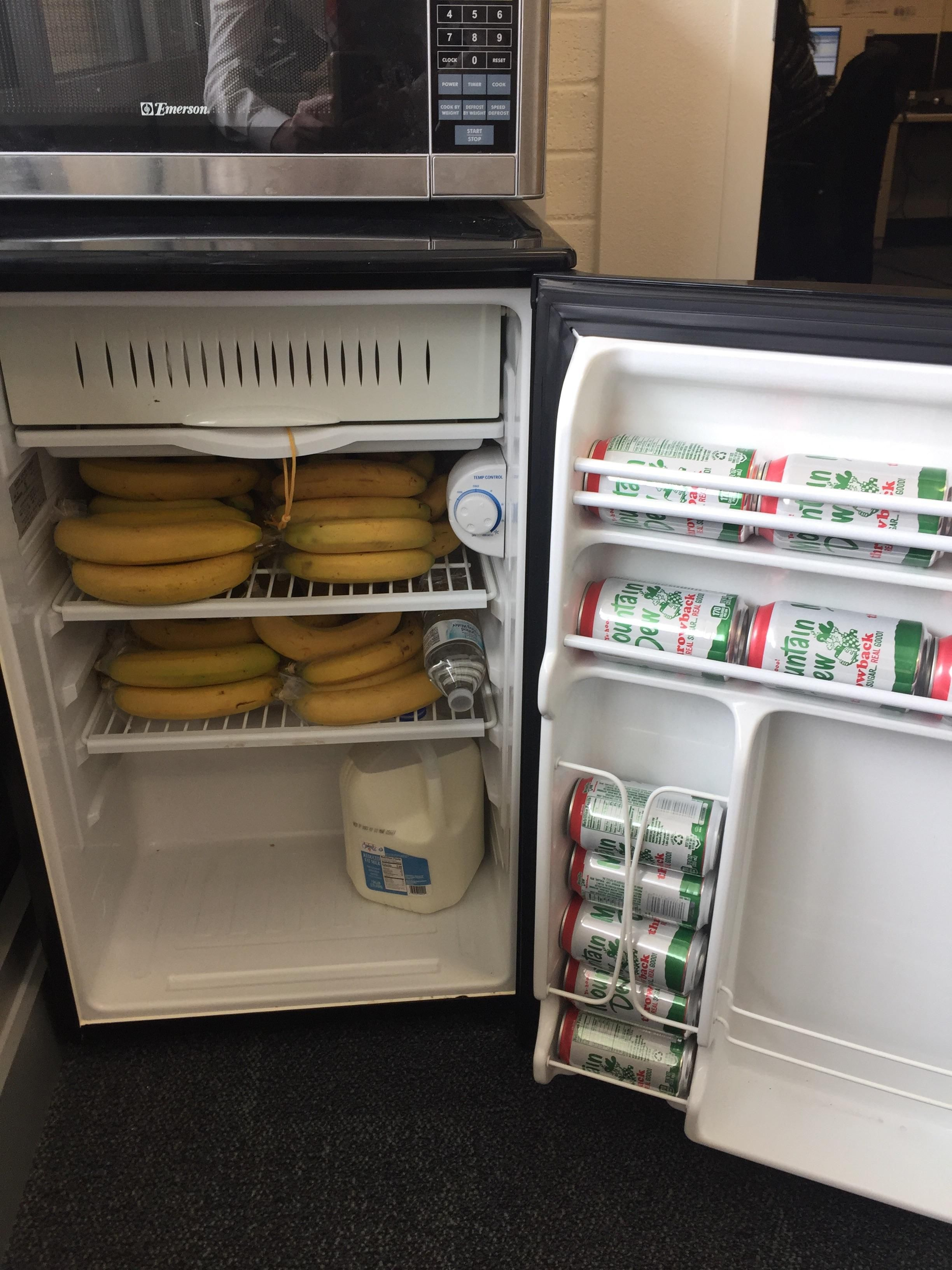 My boss's fridge is filled with only bananas mountain dew