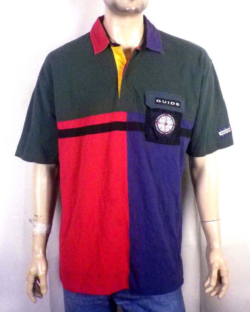 dfaf9afa3a vtg 90s euc Tommy Hilfiger Expedition Outfitters SS Rugby Shirt ...