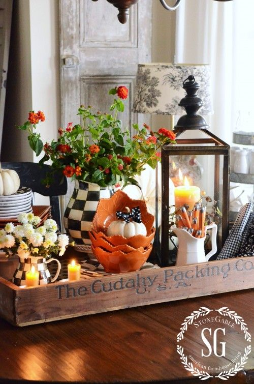 FALL KITCHEN TABLE CENTERPIECE | Fall vignettes, Autumn ...
