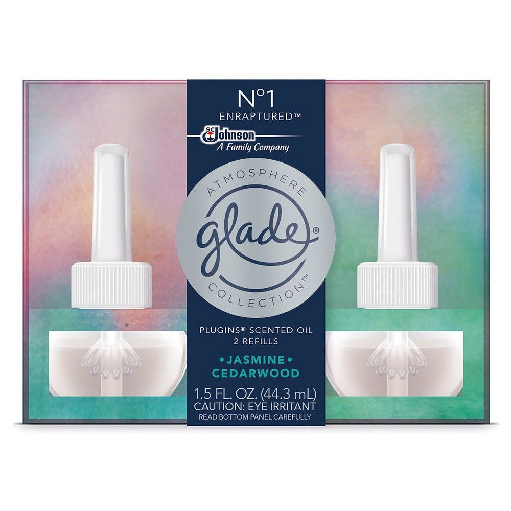 Glade Plug In Scented Oil Refill, No 1 Enraputred, 2ct, 1.5oz, Green