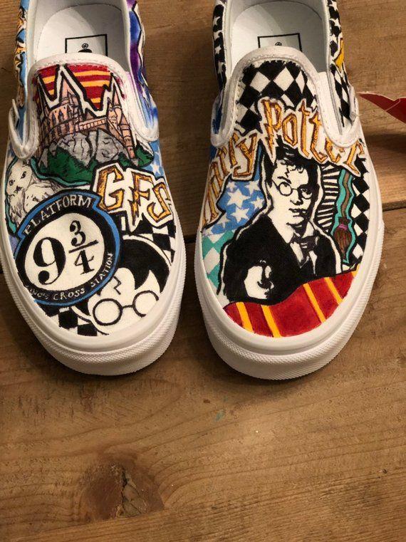 Harry Potter themed custom hand painted slip on Vans