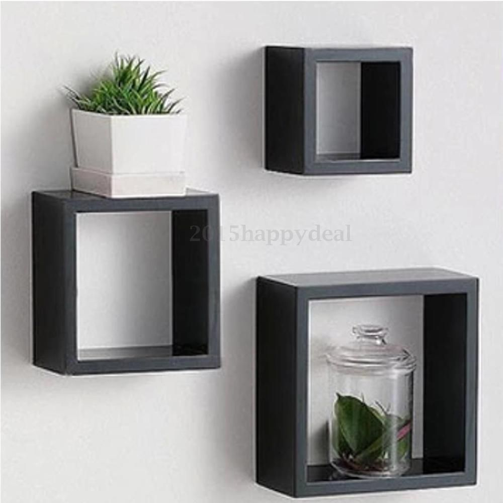 Set Of 3 Black Retro Floating Cube Shelf Square Shelves Storage Wall Mounted Box Floating Cube Shelves Floating Shelves Cube Wall Shelf