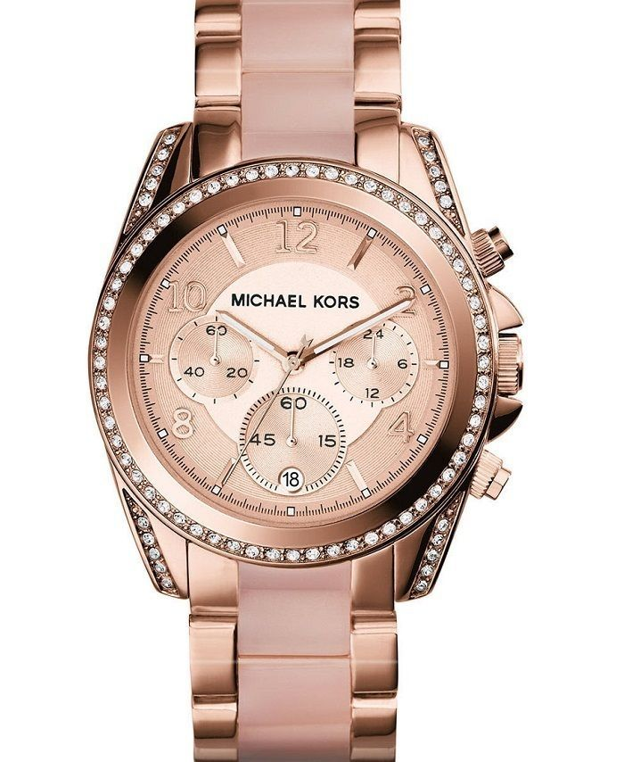 NEW Michael Kors Blair Rose Gold Chronograph Dial Blush Womens MK5943 Watch 34663690f8