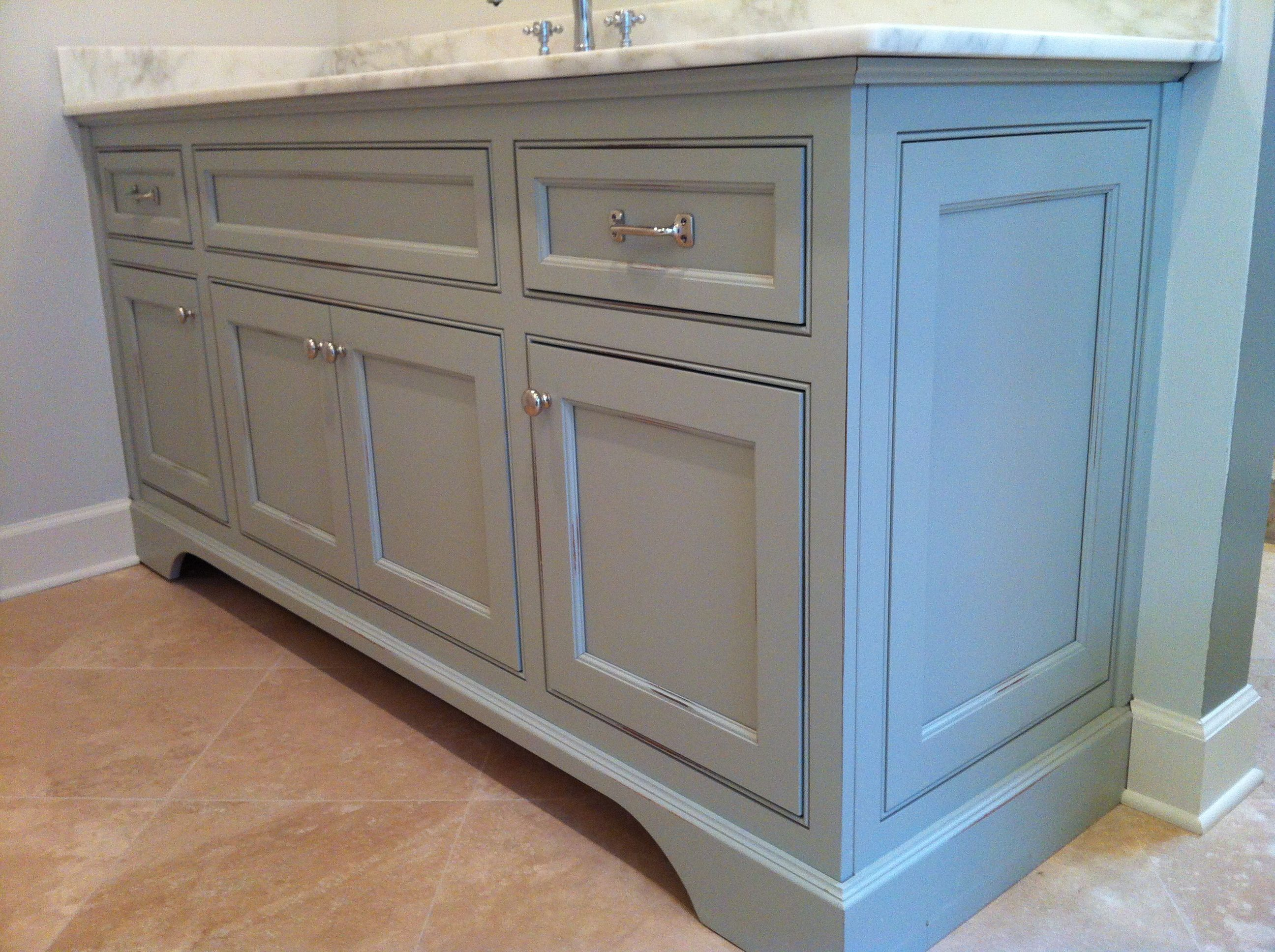 Vanity in distressed Sherwin Williams Aloof Grey