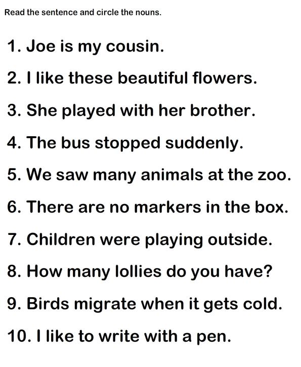 Noun Grade2 Worksheet12 Parts Of Speech Worksheets Pinterest