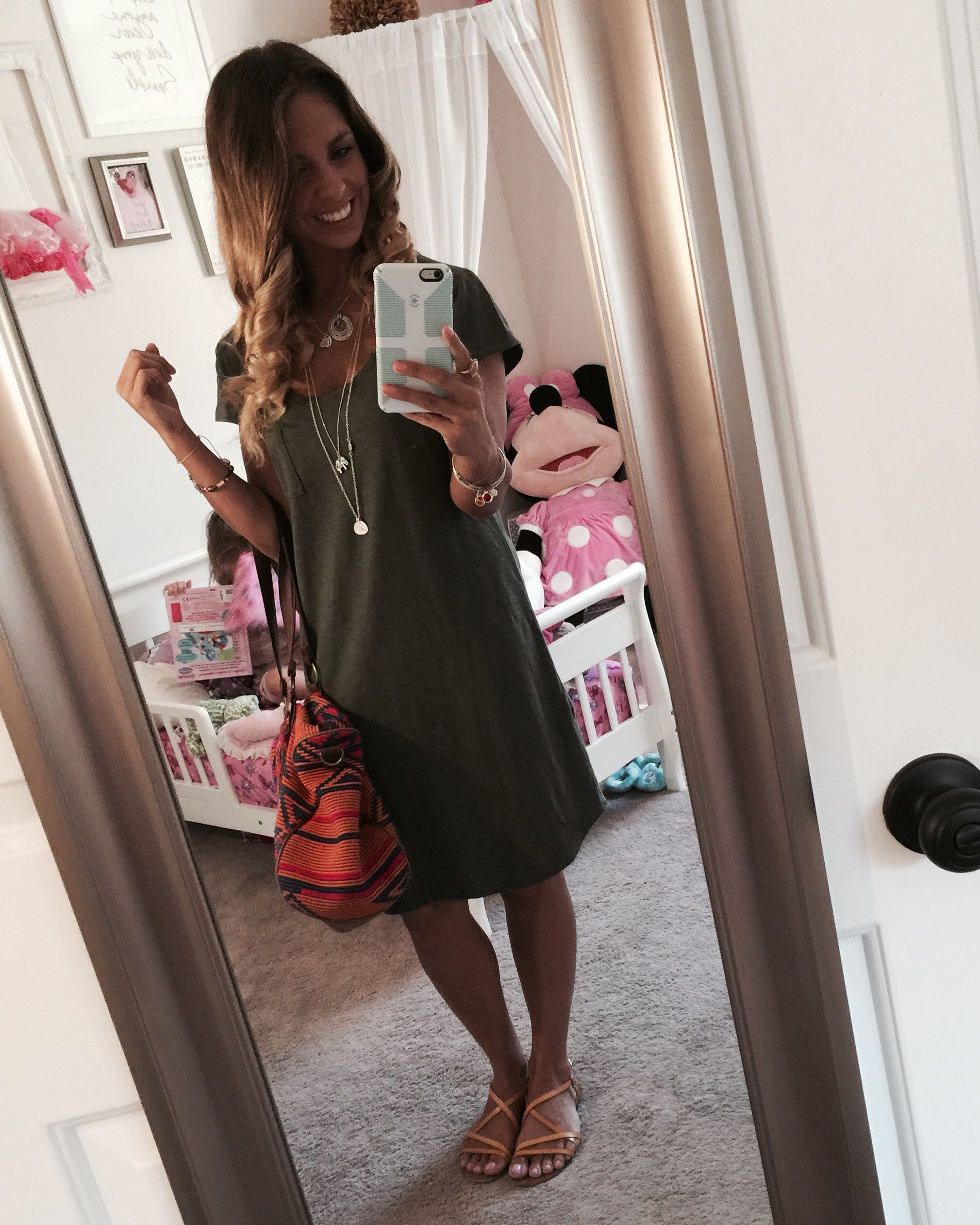 Olive Green V Neck Distressed T Shirt Dress And Strappy Tan Leather Sandals From Gap Factory Aztec Distressed T Shirt Dress Shirt Dress Spring Summer Fashion [ 2523 x 2019 Pixel ]