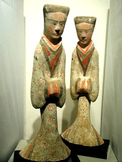 Han Dynasty Court Ladies in The Alberto Manuel Cheung Gallery, New York City, on the Web -- Chinese Antiquities -- Han Dynasty Pottery Figure of Two Female Attendants 206BC-AD8