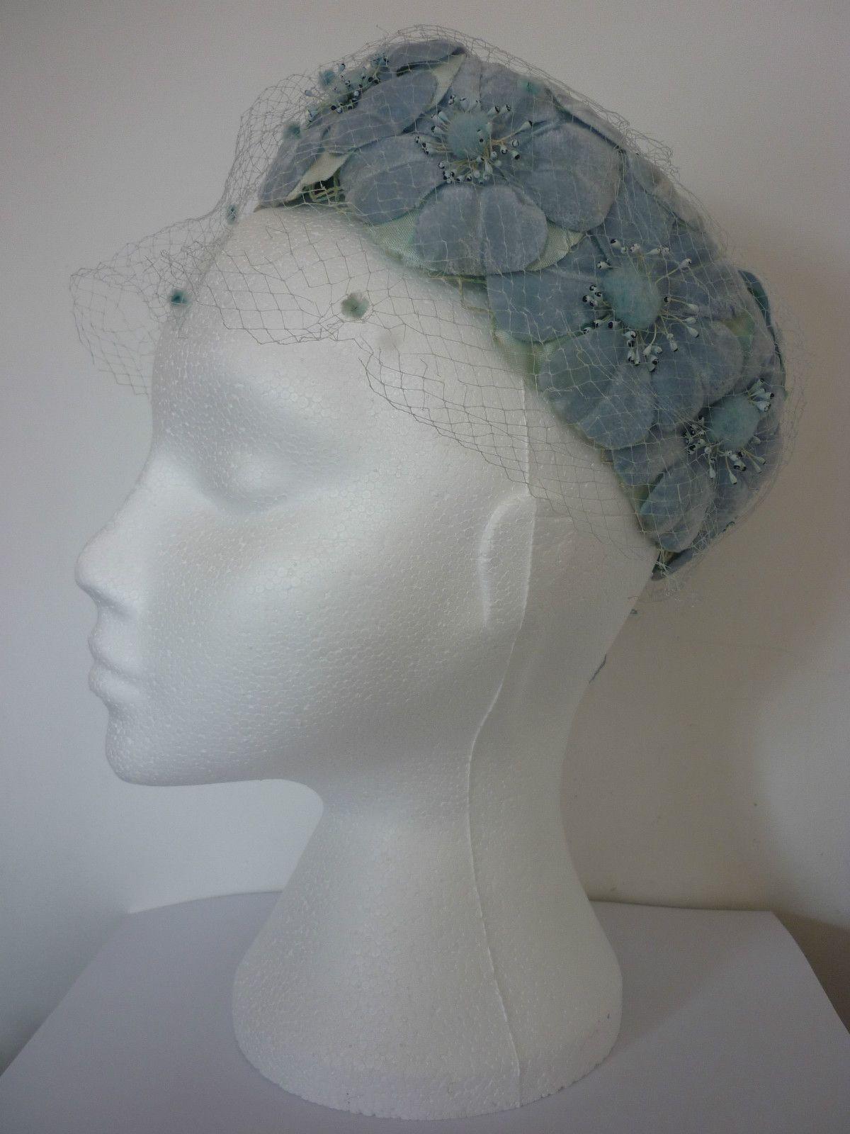 Vintage Original 1950 s Pale blue Velvet Flower Pill Box Hat Ideal for  Wedding 47930209502