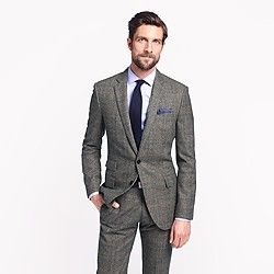 bc767a19b5bb Ludlow suit jacket with double vent in Prince of Wales glen plaid English  wool
