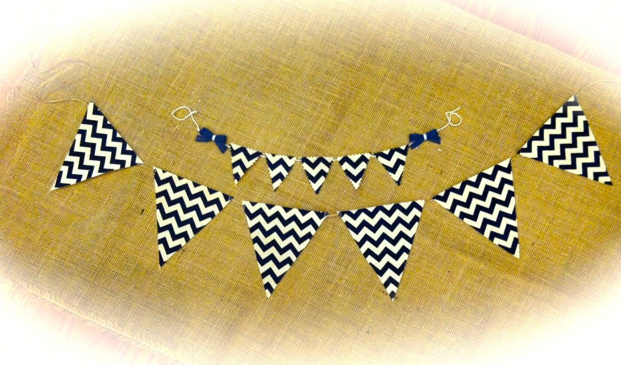 Nautical Theme Fabric Pennant Banner & Mini Cake Topper www.etsy.com/shop/queensbanners Also available in solid denim fabric