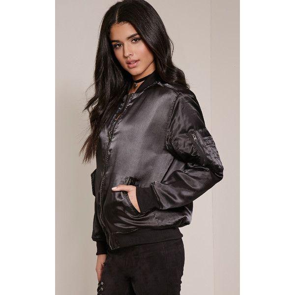 Cruz Black Satin Bomber Jacket-8 ($31) ❤ liked on Polyvore featuring outerwear, jackets, black, bomber jacket, flight jacket, satin bomber jacket, satin jacket et blouson jacket