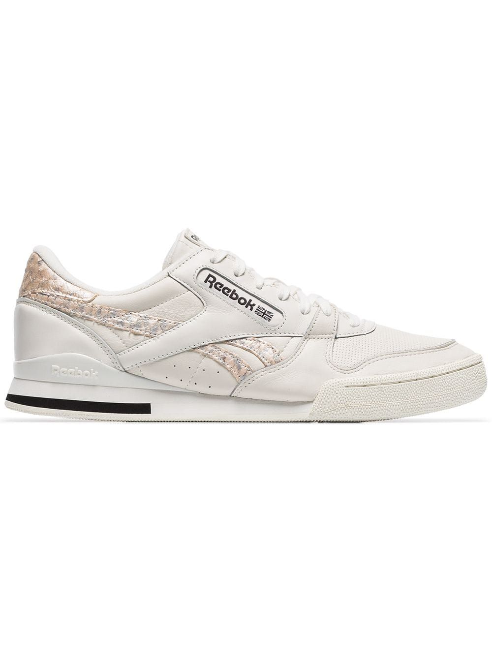 Reebok White Phase 1 Low Top Leather Sneakers Læder  Leather
