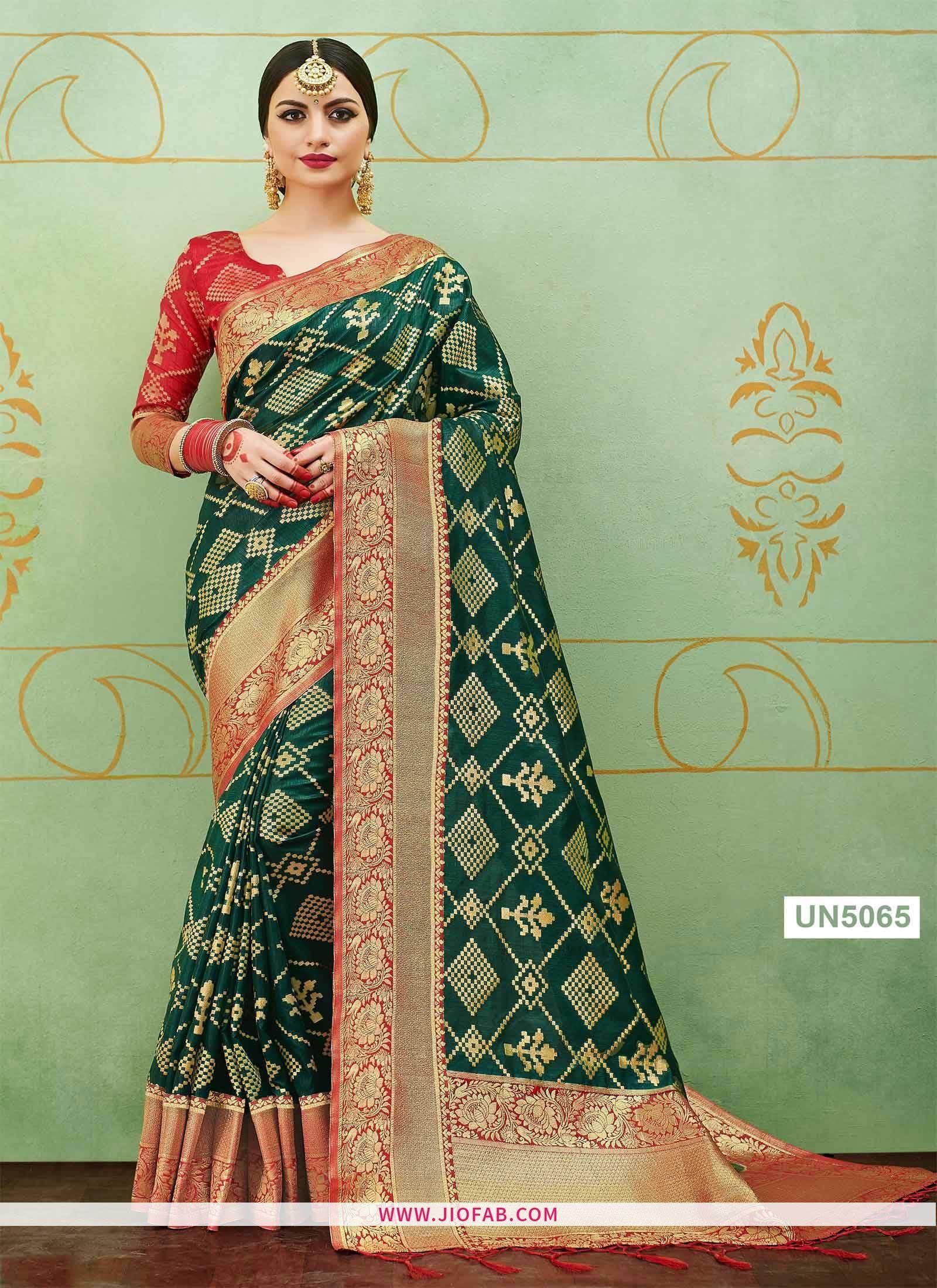 Green wedding banarasi silk saree with heavy pallu saree