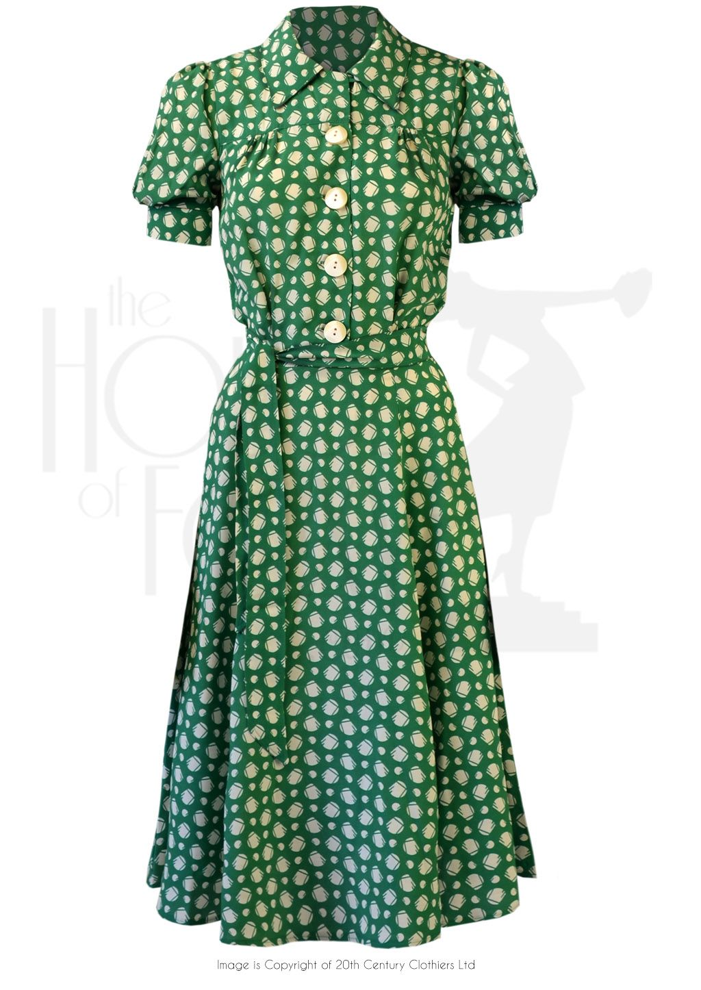 S shirt waister dress emerald deco dot love da dress