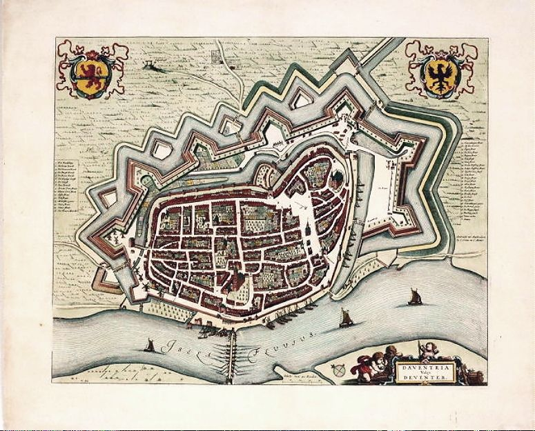 Antique map of Deventer Blaue published by Covens and Mortier c