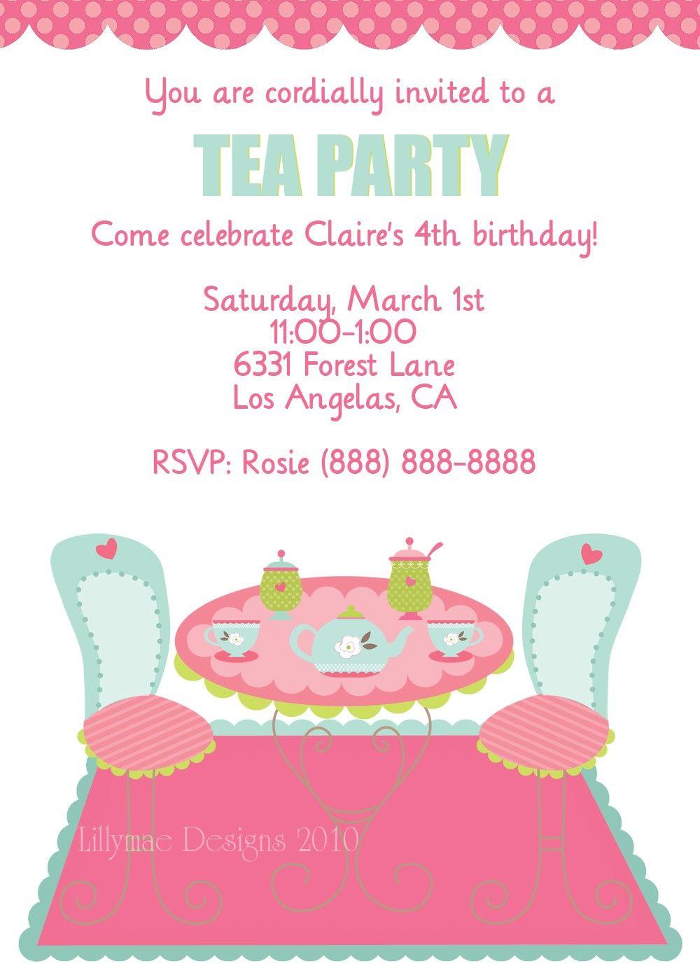 Invitation tea party MotherDaughter Tea Party Pinterest Tea