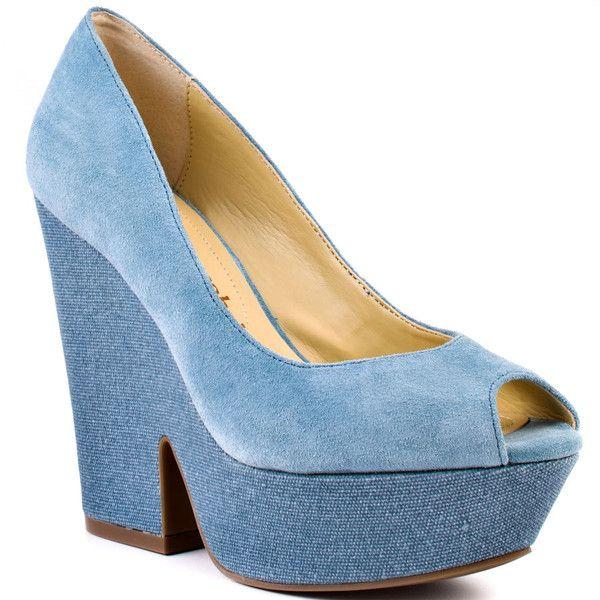 Luxury Rebel Women's Razo - Indigo ($88) ❤ liked on Polyvore featuring shoes, heels, wedges, blue, platform, pumps, block heel, open toe, casual and women