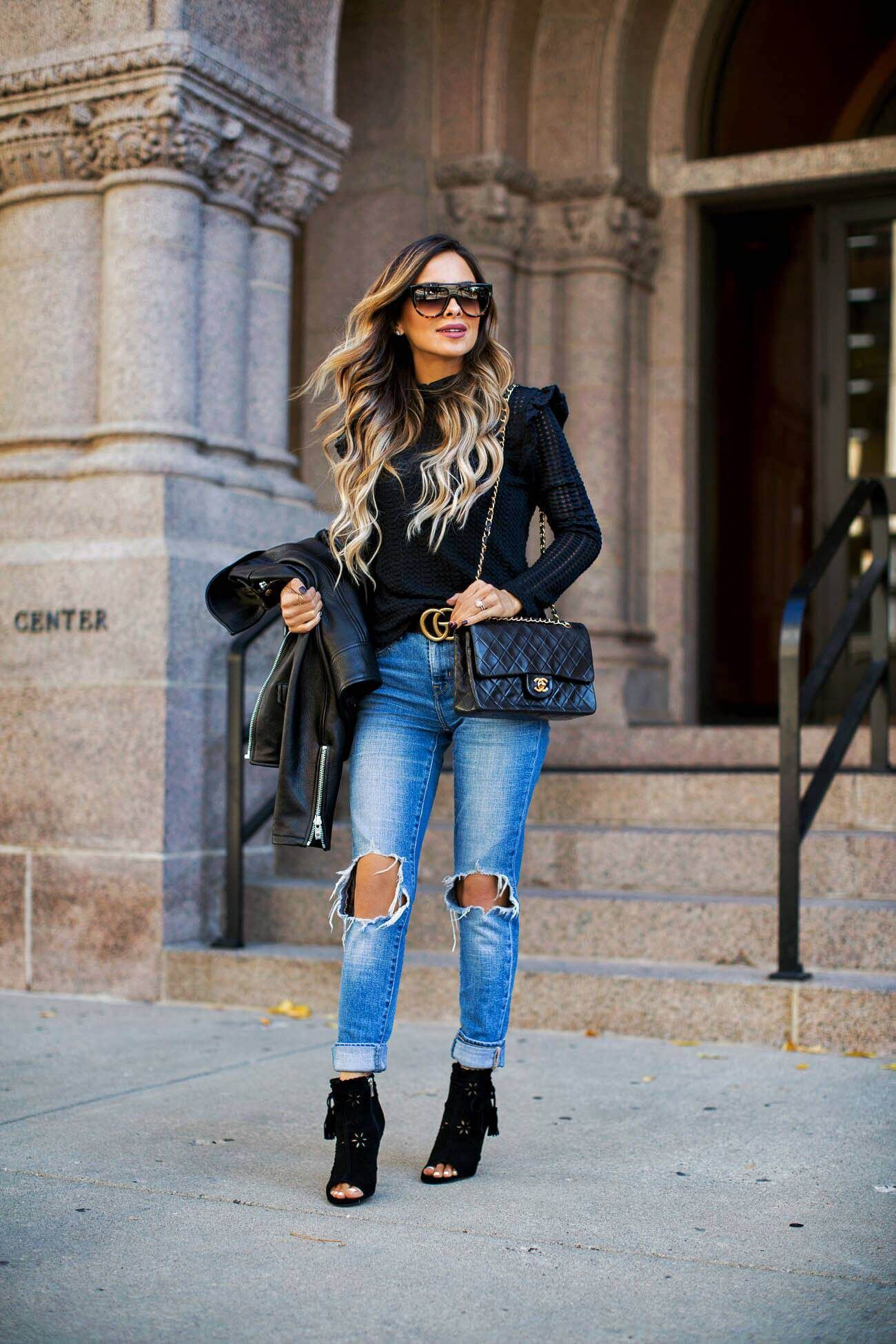 aa309bf207f4 fashion blogger mia mia mine wearing a fall outfit from nordstrom and  celine sunglasses