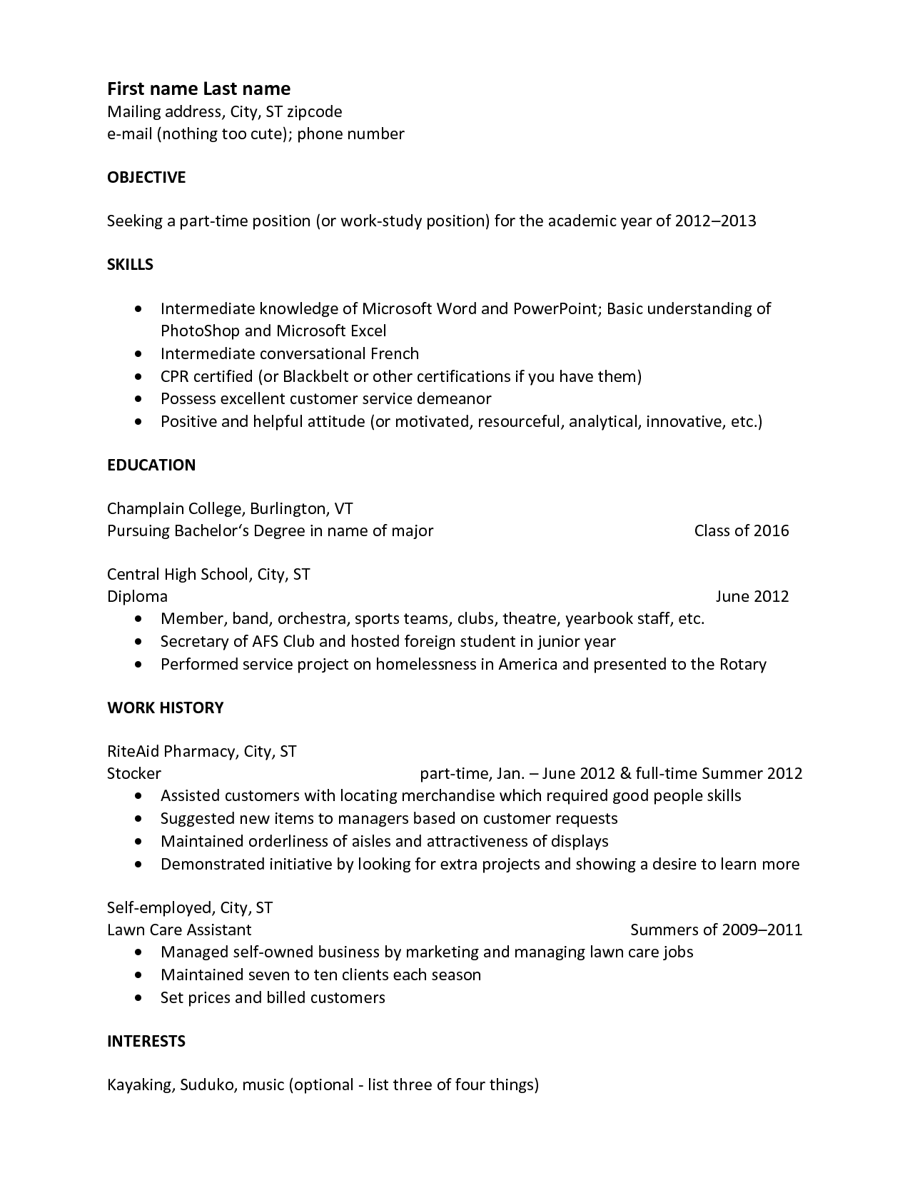 Basic Resume Outline Template Acting Resume Beginner Samples  Httpwwwresumecareer