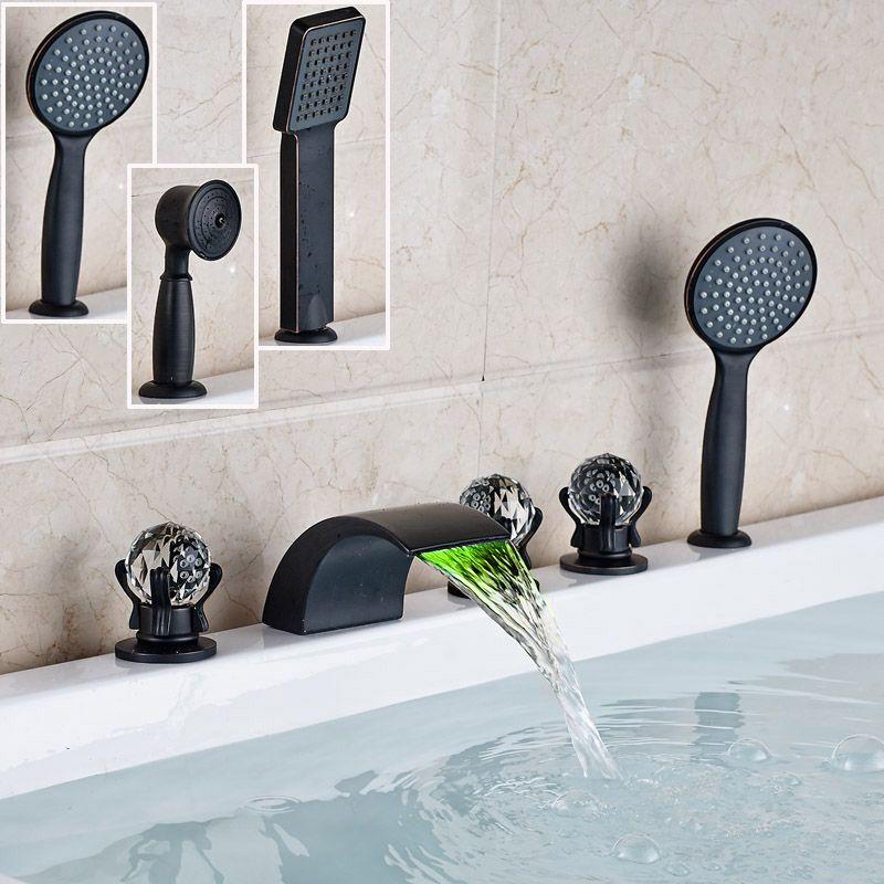 Deck Mounted Led Light Waterfall Spout Bathtub Faucet Set Bathroom Side Mounted Bath Tub Filler With Roman Tub Faucets Waterfall Bathtub Faucet Bathtub Faucet Deck mount bath tub faucets