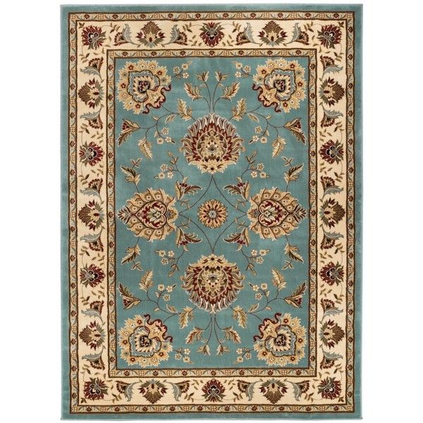 Well Woven Vanguard Oriental Border Light Blue Red Black Ivory Green... ($162) ❤ liked on Polyvore featuring home, rugs, beige, stain resistant rugs, ivory rug, light blue rug, light blue area rug and lattice rug