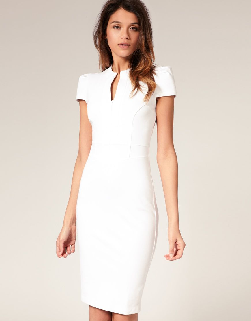 ASOS Ponti Pencil Dress with Zip Detail | Just My Style ...