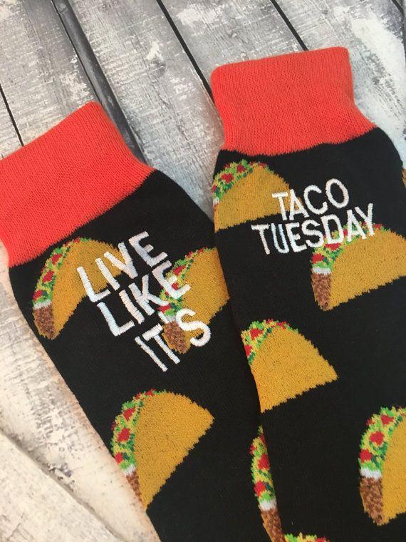 Taco Socks - Mens Socks - Taco Gift - Man Gift - Funny Socks - second anniversary Gift - Gag Gift - Mens Christmas Gift Kz84SYku