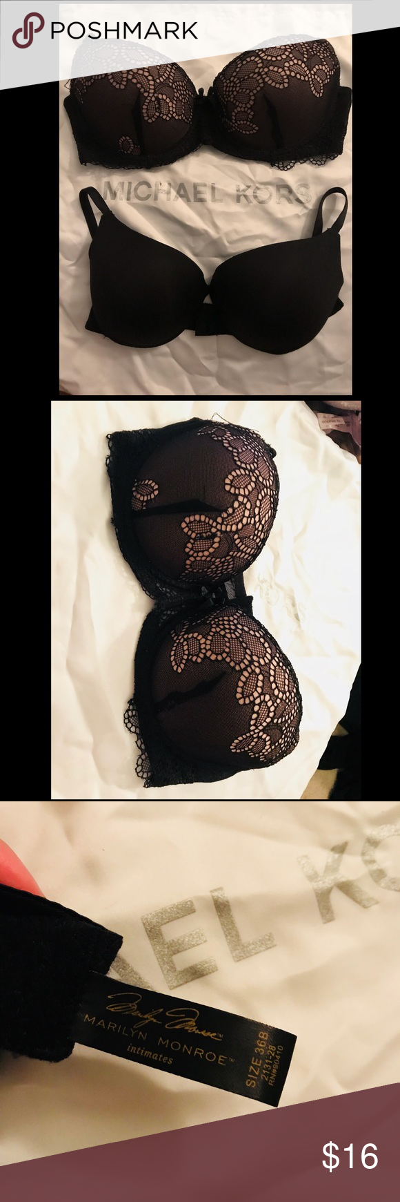 8ff62e1ecc49d NWOT🖤TWO BRAS 36B Cute Marilyn Monroe Push up Bra size 36B new without tags