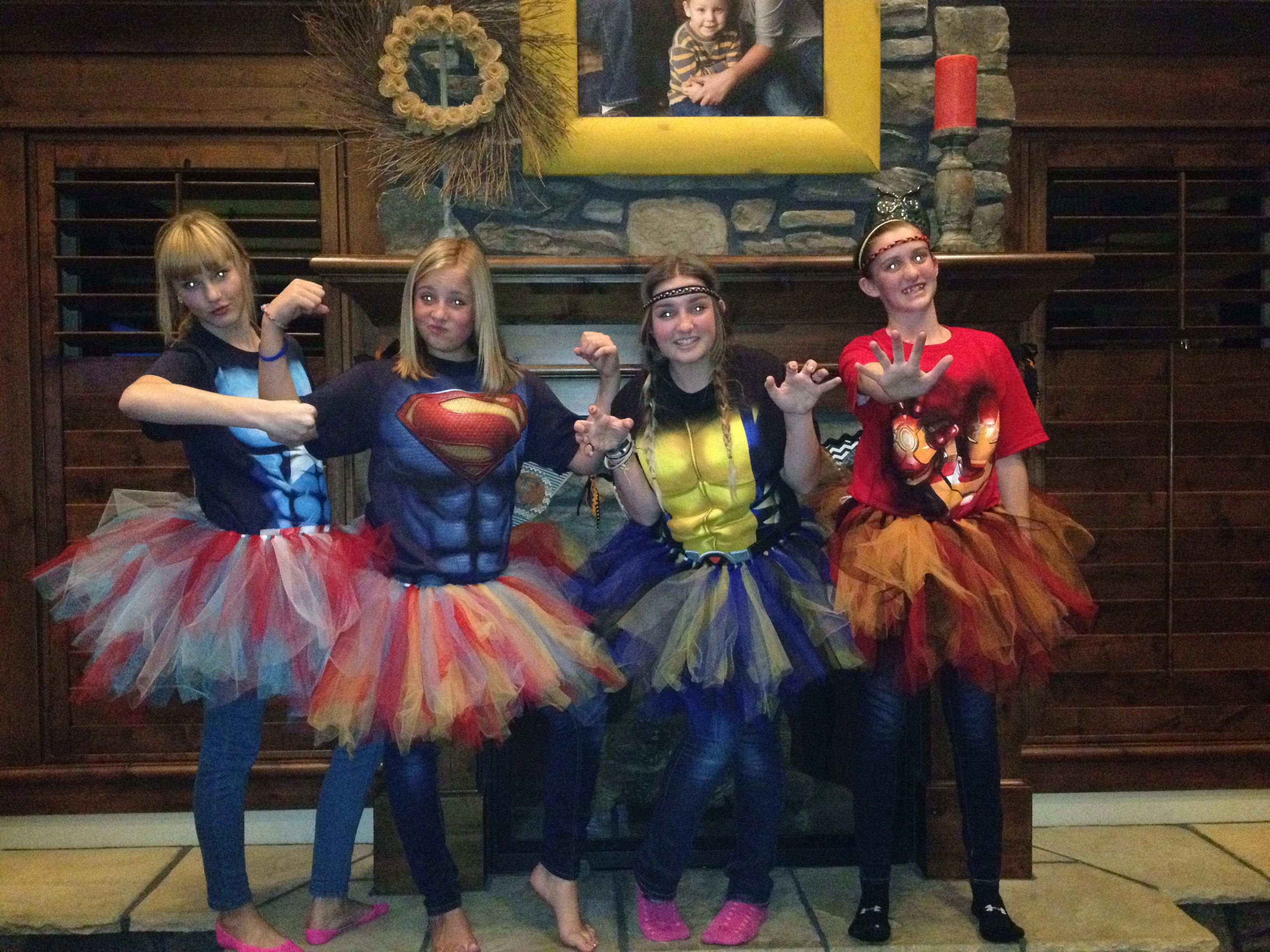 My best friends and I all made superhero costumes for Halloween ...