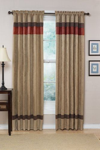 Tan Brown Red Stripe On Bottom Curtains Panel Curtains