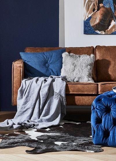 Trendy und doch zeitlos eine Ledercouch in Cognac-Braun ist super - wohnzimmer blau grau braun