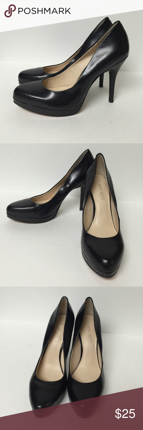 New Nine West black leather pumps Worn in store. Stickers still attached to bottoms. Must have in every closet, classic black pumps. Nine West Shoes Heels