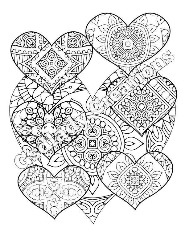 Zentangle Coloring Page Heart Pattern Coloring Sheet For Grown Ups Printable Digital Illustration Coloring Pages Detailed Coloring Pages Coloring Books