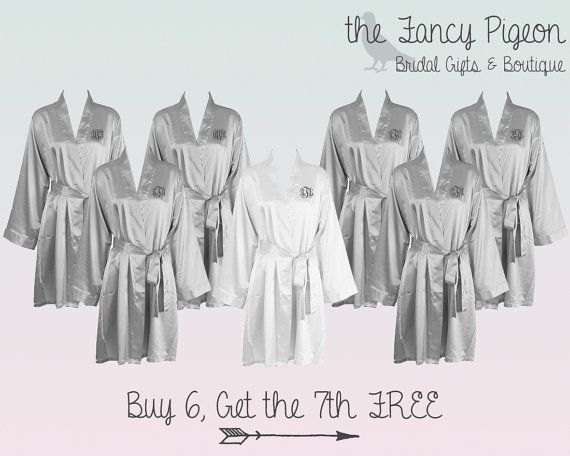 FREE ROBE Set of 7 Silver Personalized Satin by thefancypigeon