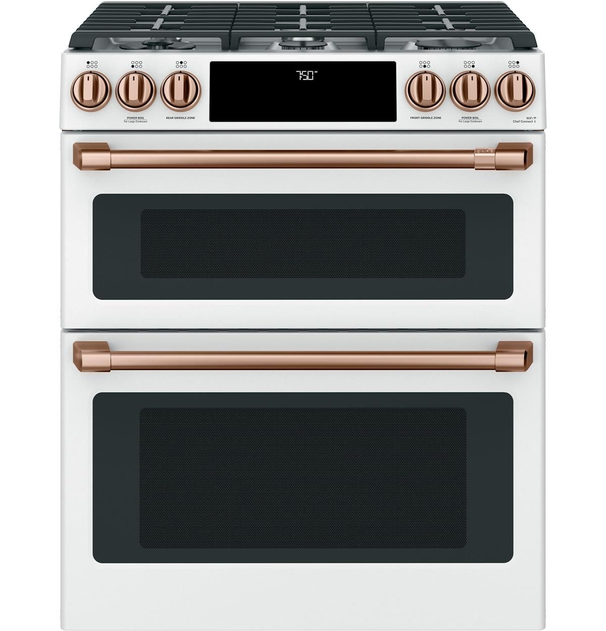 Cgs750p4mw2 Overview Cafe 30 Slide In Front Control Gas Double Oven With Convection Rang Gas Range Double Oven Double Oven Electric Range Double Oven Range