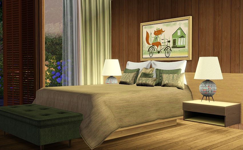 Mid Century Modern Bedroom | Mid Century Bedroom Set   Free Downloads For  The Sims 3