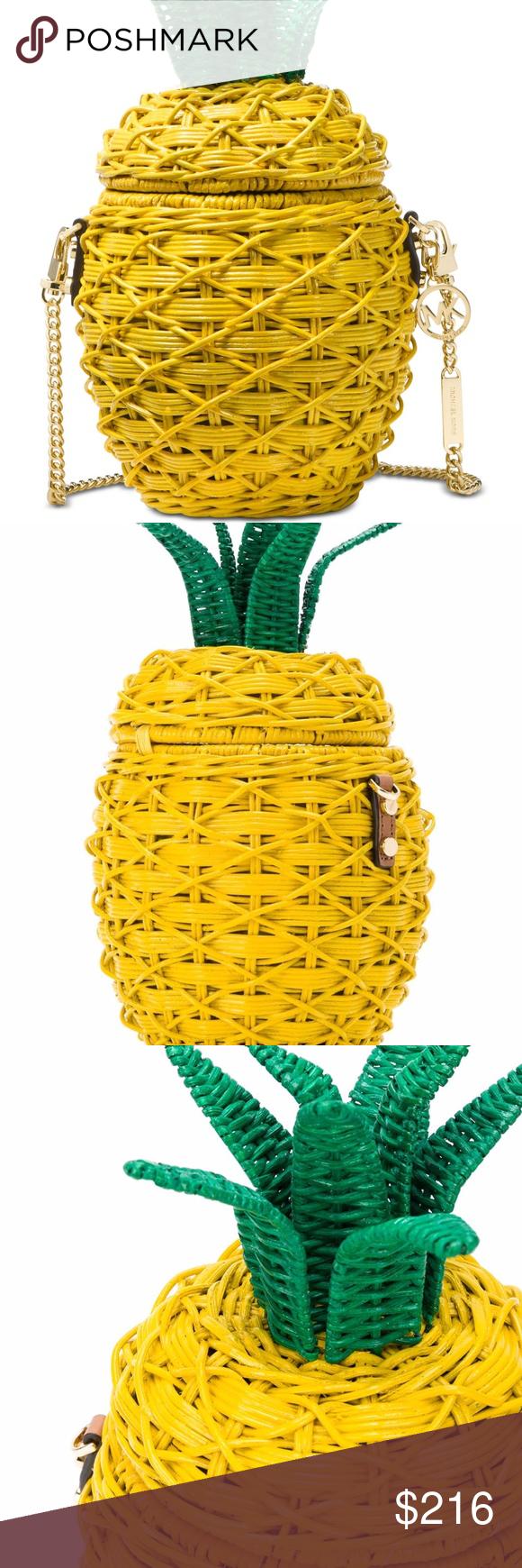 fd8ca036a252 Michael Kors Straw Pineapple Crossbody A splash of color and fun. MICHAEL  Michael Kors'
