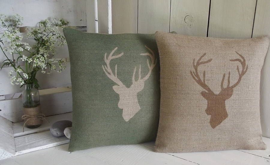 Are you interested in our hessian stags head cushion cover with our stag antlers country cushion you need look no further