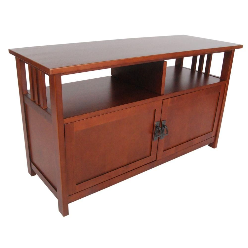 Alaterre Furniture Mission 16 In Cherry Wood Tv Stand Fits Tvs Up To 50 In With Storage Doors Amia1060 The Home Depot Tv Stand With Glass Doors Mission Style Tv Stand Alaterre Furniture