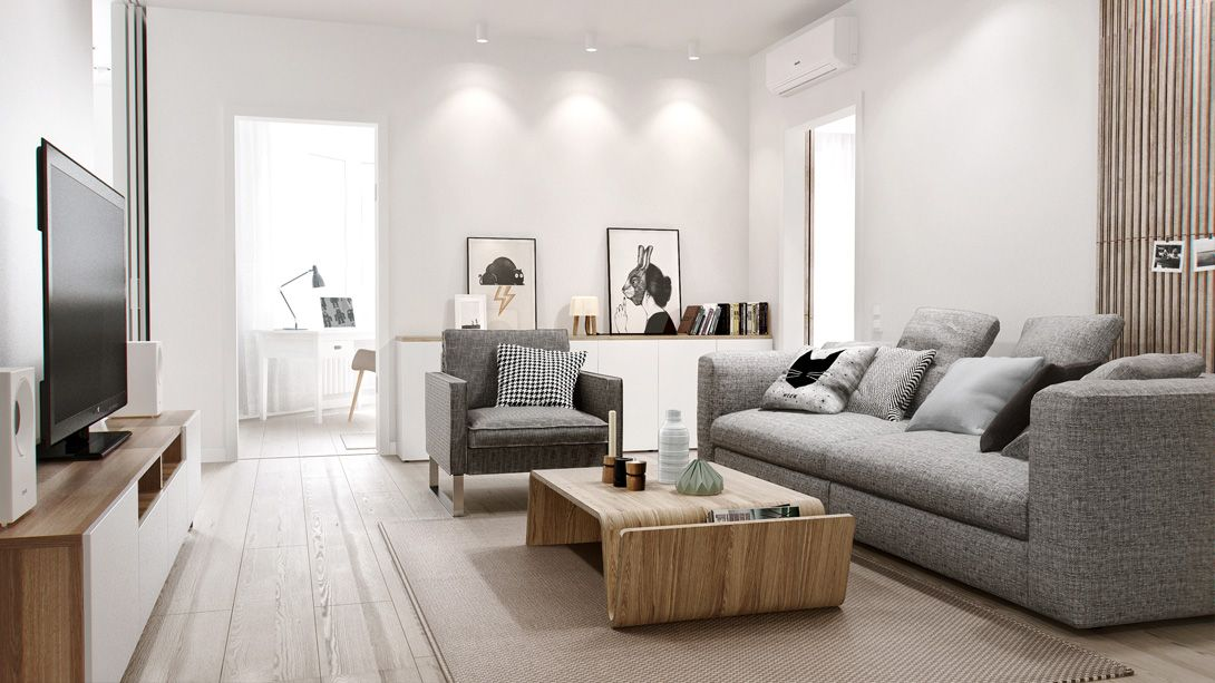Home Apartment Cool Grey Sofa Design With Modern Wood Coffee Table For Apartment Living Room