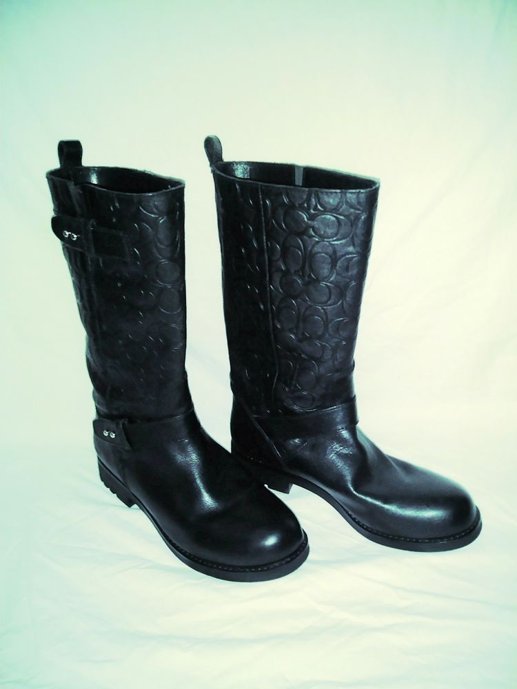 "75c120b056c New Women s COACH ""Virginia"" Black Embossed Leather Boots Size 9.5B  Coach   MidCalfBoots  CasualOutdoorPartyWork"