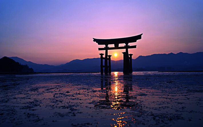 Download wallpapers Torii, 4k, Japanese gate, sunset, HDR