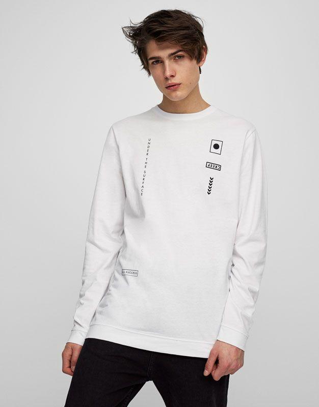 Pull Bear Erkek Giyim T Shirtler Grafik Yazili Uzun Kollu T Shirt Beyaz 05237586 V2017 Setelan Pria Kaos Jaket