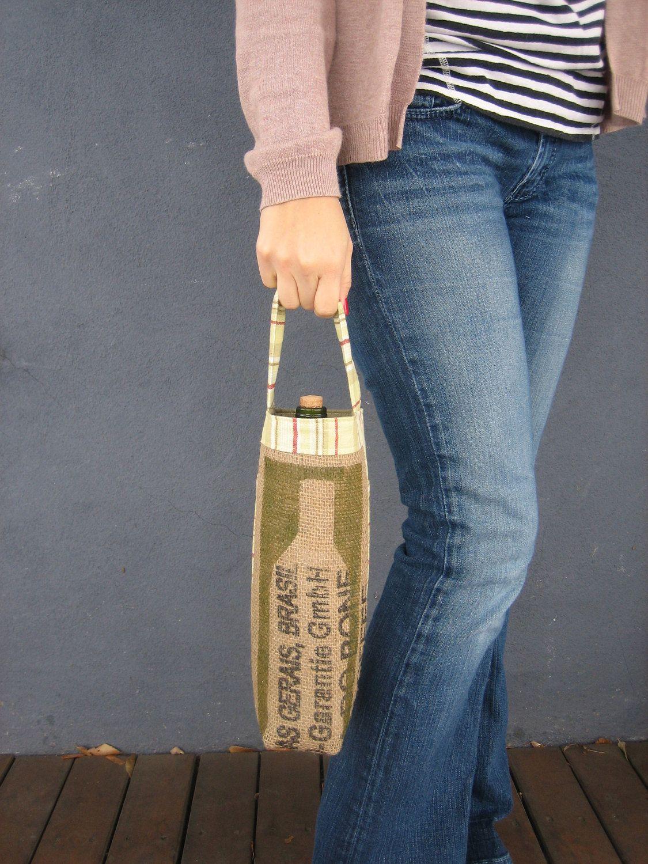 Green Bottle Silhouette Wine Tote by emeHANDMADE on Etsy, $28.00